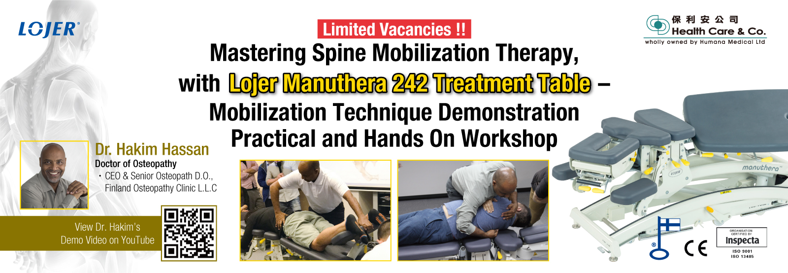 Mastering Spine Mobilization Therapy, with Lojer Manuthera 242 Treatment Table – Practical and Hands On Workshop