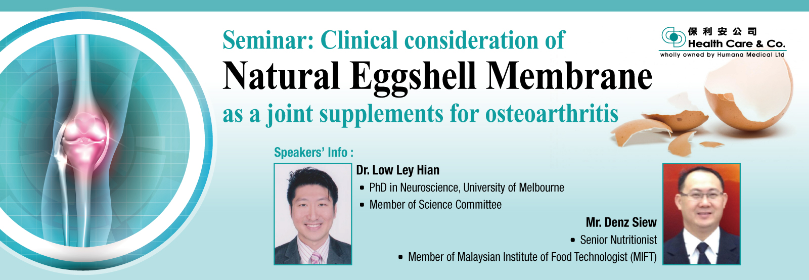 Seminar: Clinical consideration of Natural Eggshell Membrane as a joint supplements for osteoarthritis